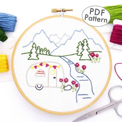 Vintage Trailer Mountain Meadow Hand Embroidery Pattern