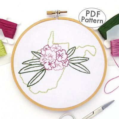 West Virginia Flower Hand Embroidery Pattern {Rhododendron}