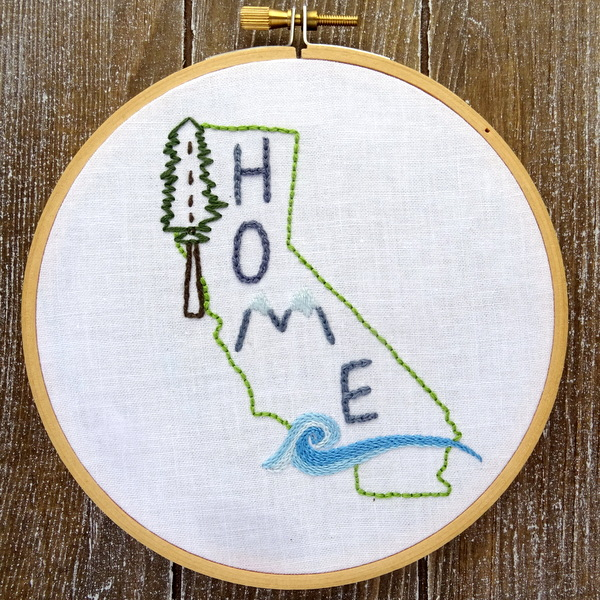 California State HOME Hand Embroidery Pattern