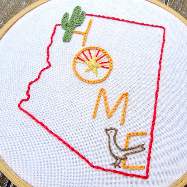 Arizona State HOME Hand Embroidery Pattern