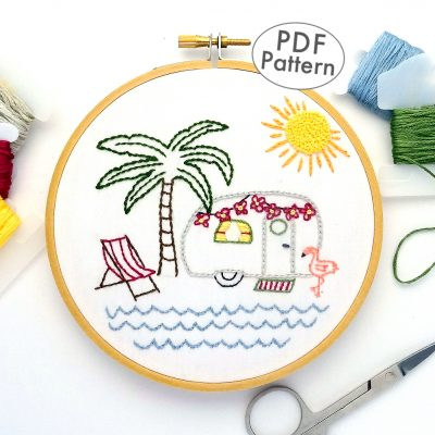 Vintage Trailer Palm Tree Paradise Hand Embroidery Pattern