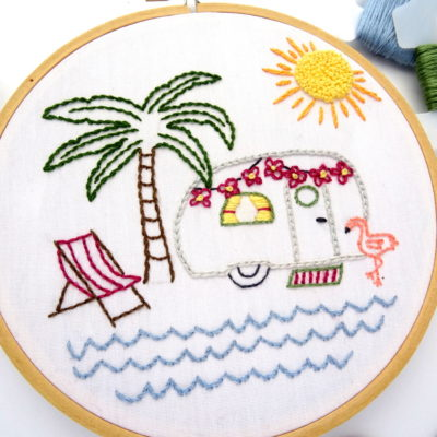 Vintage Trailer Palm Tree Paradise DIY Hand Embroidery Pattern