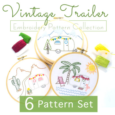 Vintage Trailer Hand Embroidery 6 Pattern Set