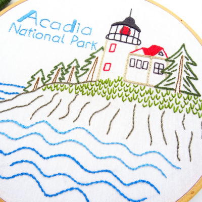 Acadia National Park Embroidery Pattern