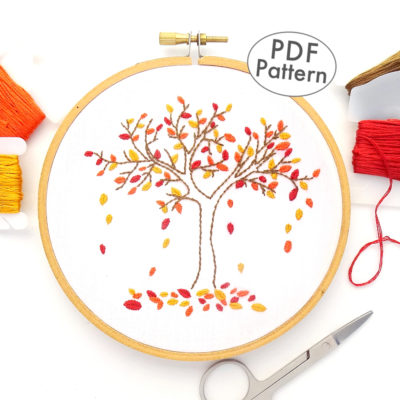 Autumn Tree Hand Embroidery Pattern