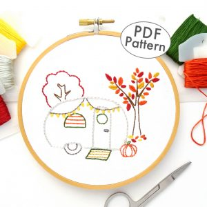 Vintage Trailer Autumn Joy DIY Hand Embroidery Pattern