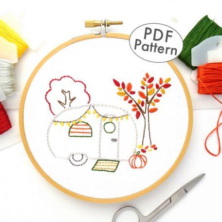 Vintage Trailer Autumn Joy DIY Hand Embroidery Pattern