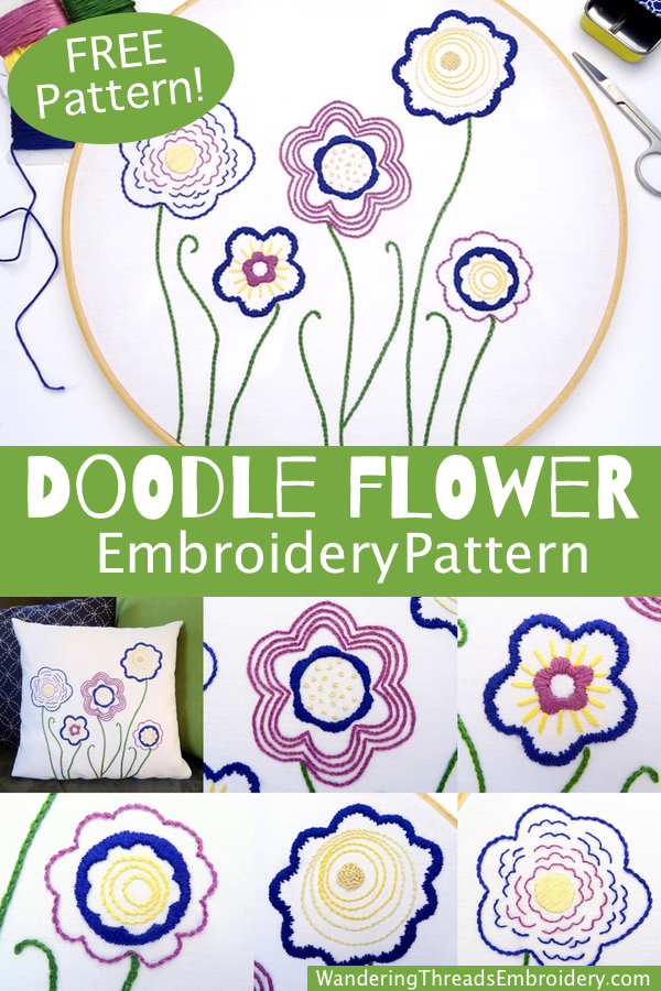 Doodle Flower Embroidery Pattern