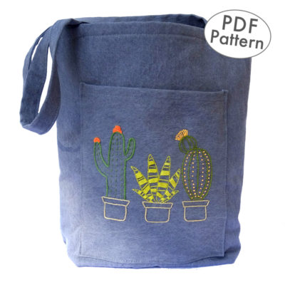 Cactus Embroidery Tote Bag Pattern