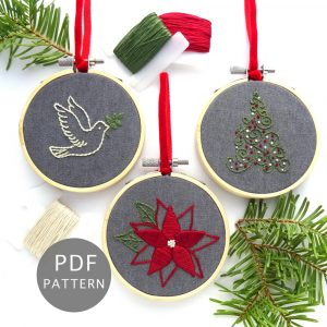 Holiday Ornament Set Hand Embroidery Pattern