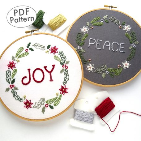 Christmas Wreath Hand Embroidery Pattern