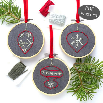 Snowflake Ornament Set Hand Embroidery Pattern