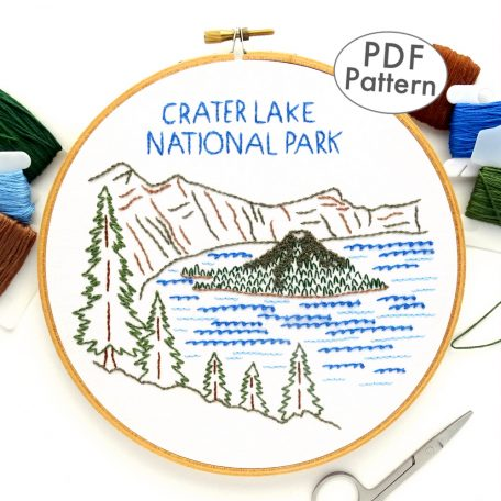 Crater Lake National Park Hand Embroidery Pattern