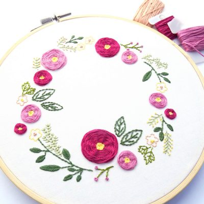Spring Wreath Hand Embroidery Pattern