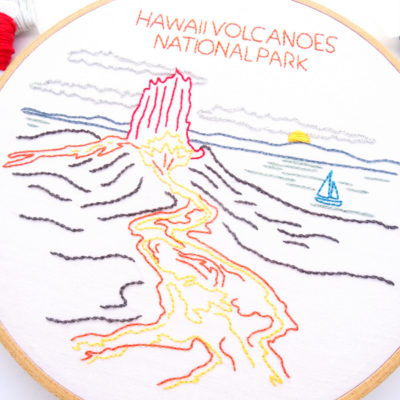 Hawaii Volcanoes National Park Hand Embroidery Pattern