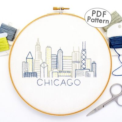 Chicago City Skyline Hand Embroidery Pattern