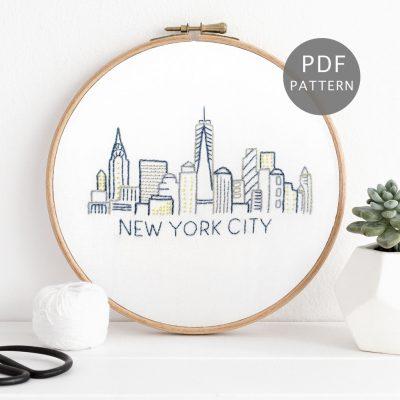 New York City Skyline Hand Embroidery Pattern