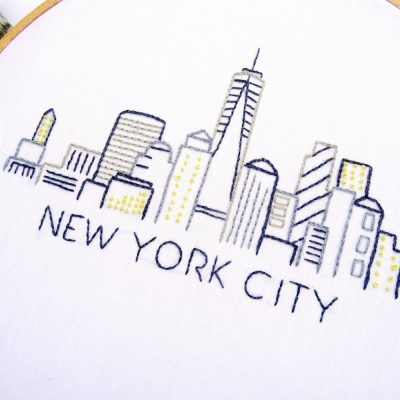 New York City Skyline Hand Embroidery Pattern