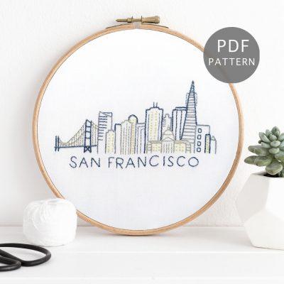 San Francisco City Skyline Hand Embroidery Pattern