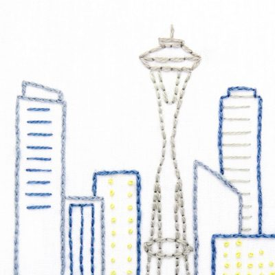 Seattle Skyline Hand Embroidery Pattern