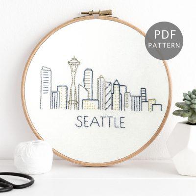 Seattle Skyline Hand Embroidery Pattern