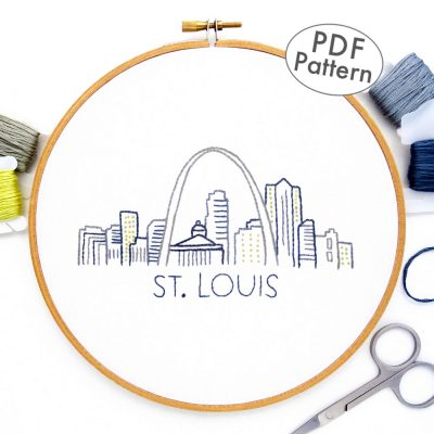 St Louis Skyline Hand Embroidery Pattern