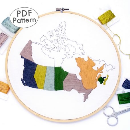 Canada Travel Map Hand Embroidery Pattern