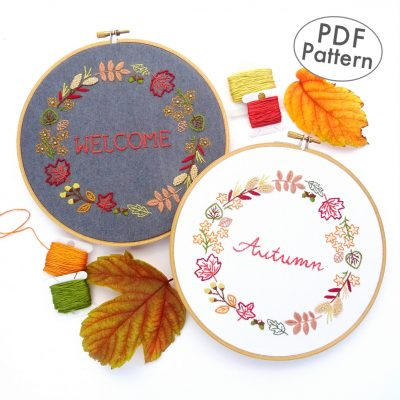 Autumn Wreath Hand Embroidery Pattern