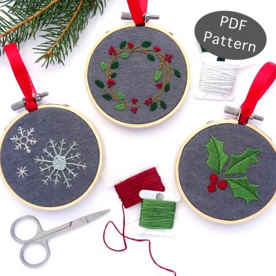 Holiday Botanical Ornament Set Hand Embroidery Pattern