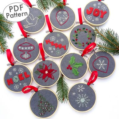 Christmas Ornament Collection Hand Embroidery Pattern
