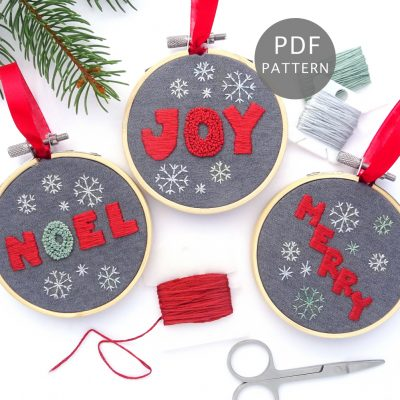Christmas Greetings Ornament Set Hand Embroidery Pattern