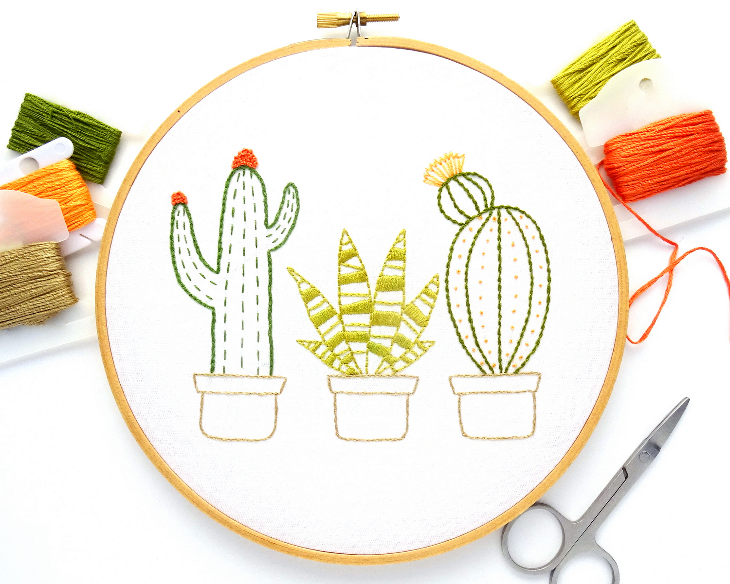 Cactus Trio Hand Embroidery Pattern