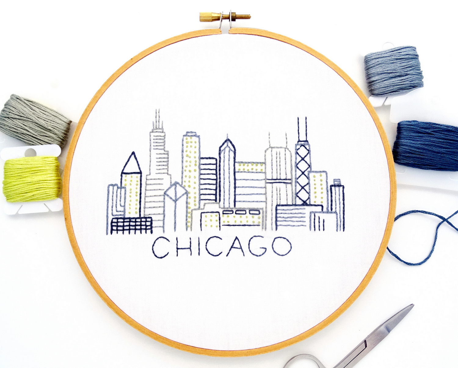 Chicago Skyline Hand Embroidery Pattern