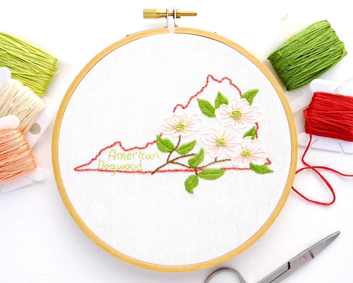 Virginia Flower Hand Embroidery Pattern {Flowering Dogwood}