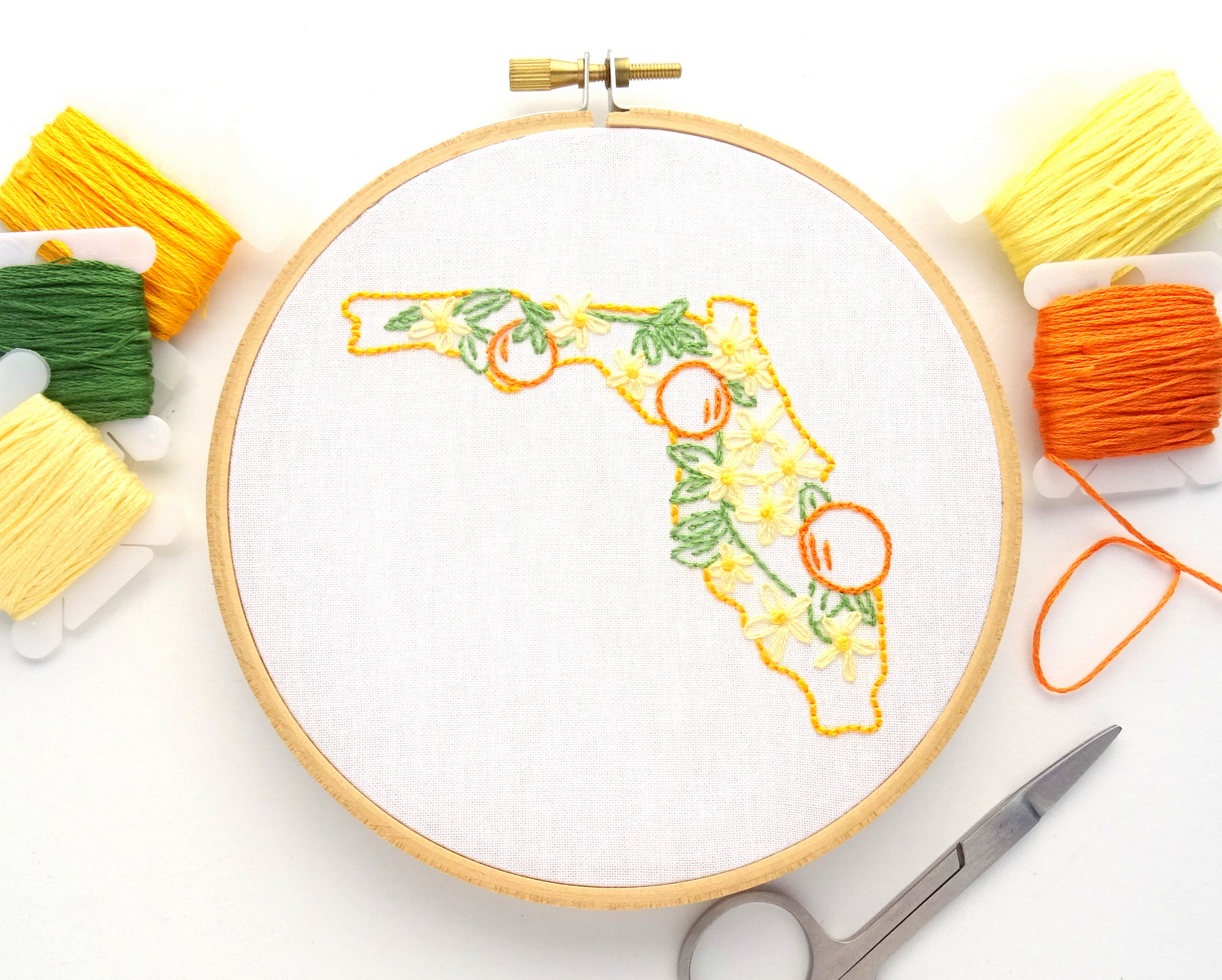 Florida Flower Hand Embroidery Pattern {Orange Blossom}