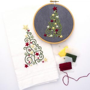 Holiday Tree Trio Hand Embroidery Pattern