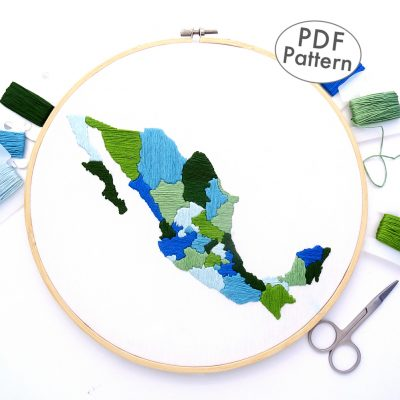 Mexico Travel Map Hand Embroidery Pattern