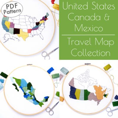 Travel Map Collection Hand Embroidery Pattern