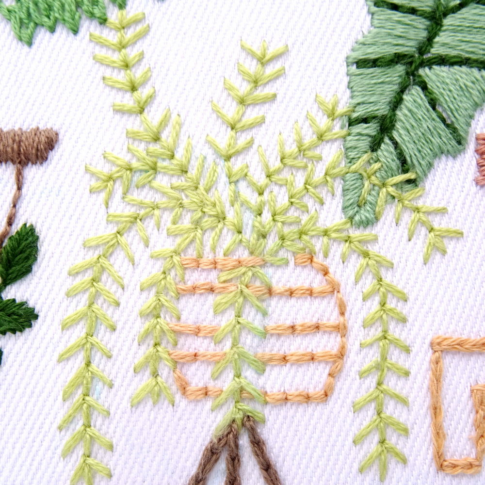 Tropical Leaves Hand Embroidery Pattern Wandering Threads Embroidery Can be used for swimwear, web pages, identity style, printing, textile, cards, etc. wandering threads embroidery