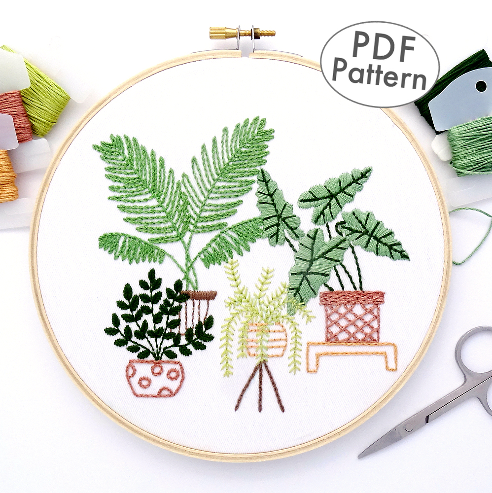 Tropical Leaves Hand Embroidery Pattern Wandering Threads Embroidery Monstera leaves | embroidery tutorial. wandering threads embroidery