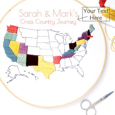 Travel Map Hand Embroidery Pattern with Custom Text
