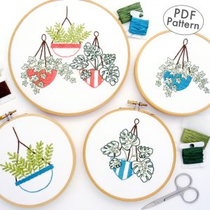 Hanging Plant Trio Hand Embroidery Pattern