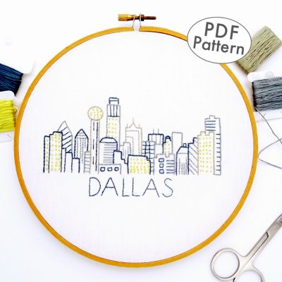 Dallas Skyline Hand Embroidery Pattern