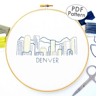 Denver Skyline Hand Embroidery Pattern