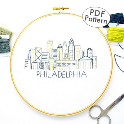 Philadelphia Skyline Hand Embroidery Pattern