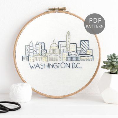 Washington DC Skyline Hand Embroidery Pattern