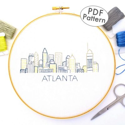 Atlanta City Skyline Hand Embroidery Pattern