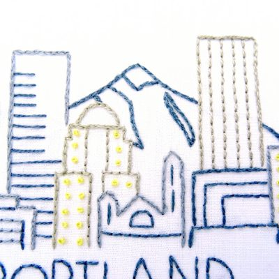 Portland City Skyline Hand Embroidery Pattern