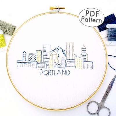 Portland Skyline Hand Embroidery Pattern