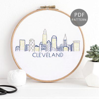 Cleveland City Skyline Hand Embroidery Pattern